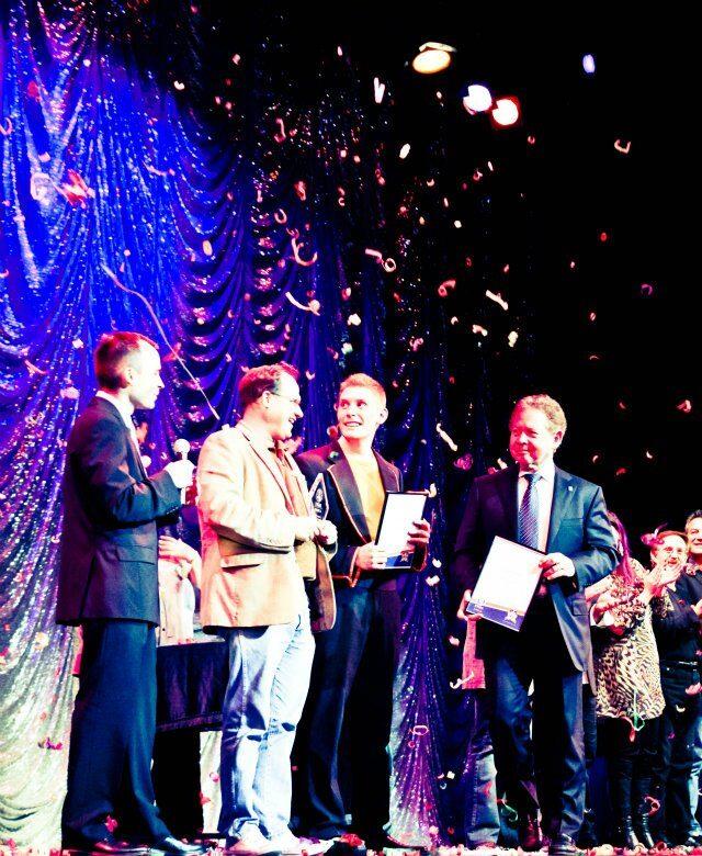 Matt Gore - Calgary Magician winning a magician award